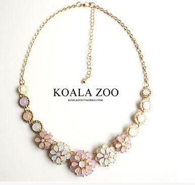زفاف - Pastel Flower Statement Necklace