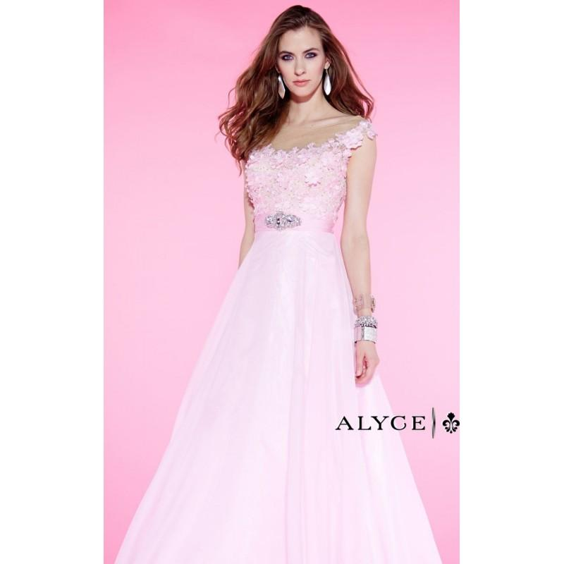 Hochzeit - Pink Beaded Floral Lace Gown by Alyce Prom - Color Your Classy Wardrobe
