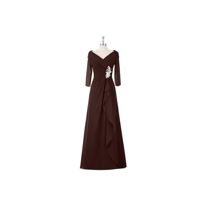 Hochzeit - Chocolate Azazie Jaycee MBD - Back Zip Floor Length Off The Shoulder Chiffon And Lace Dress - Cheap Gorgeous Bridesmaids Store