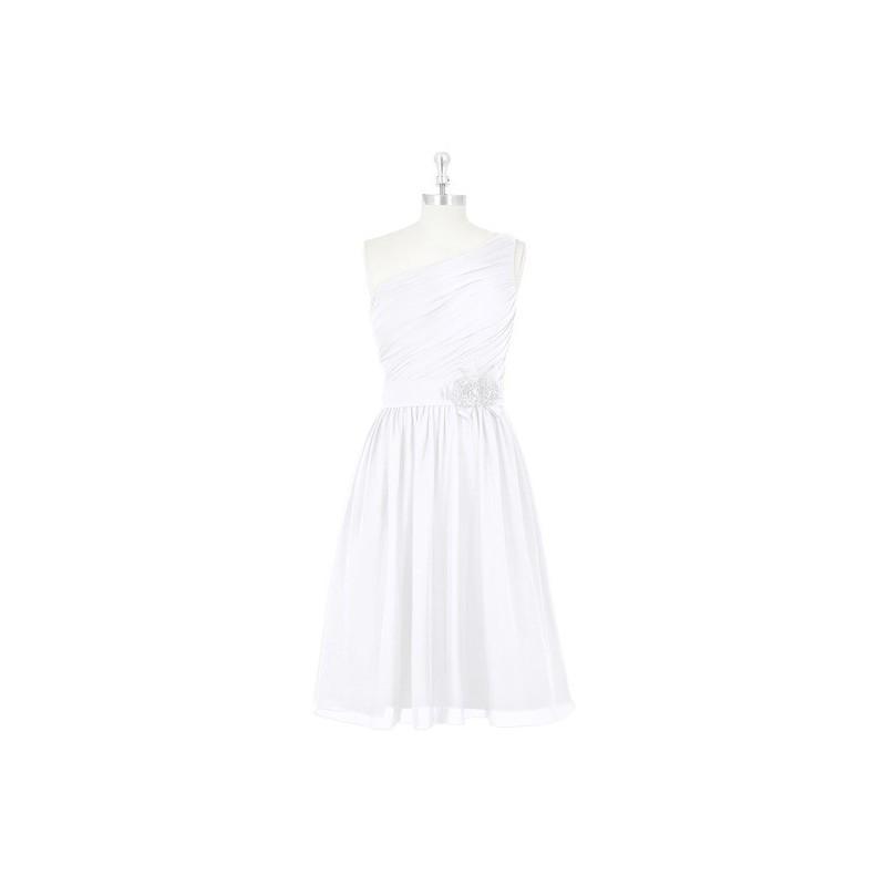 Hochzeit - White Azazie Christina - Chiffon Side Zip Knee Length One Shoulder Dress - Cheap Gorgeous Bridesmaids Store