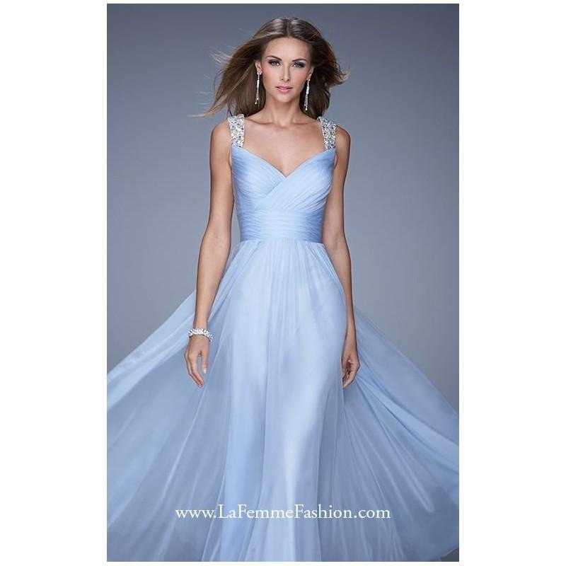 Wedding - Powder Blue Ruched Chiffon Gown by La Femme - Color Your Classy Wardrobe