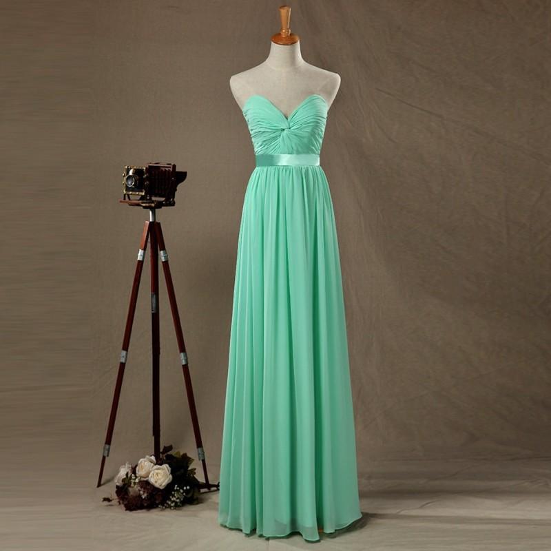 Свадьба - Mint Bridesmaid Dress, Long Wedding dress, Sexy Chiffon Prom Dress,Dusty Shale Sweetheart Strapless Formal Dress - Hand-made Beautiful Dresses