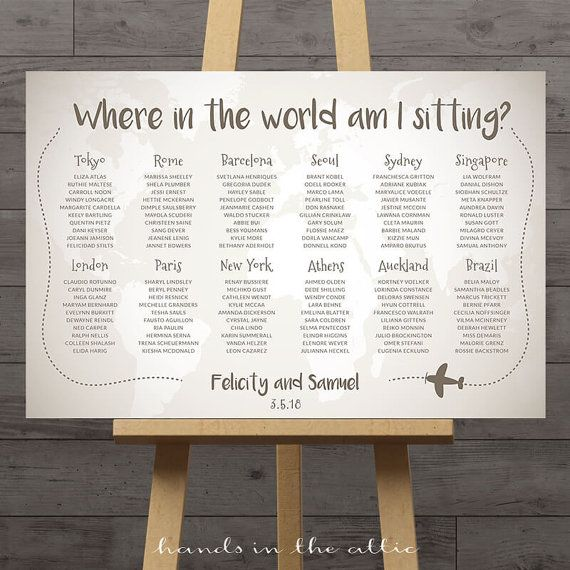 World map wedding seating chart travel theme city destination world map wedding seating chart travel theme city destination table assignment wedding decoration flags table names large plan diy digital gumiabroncs Gallery