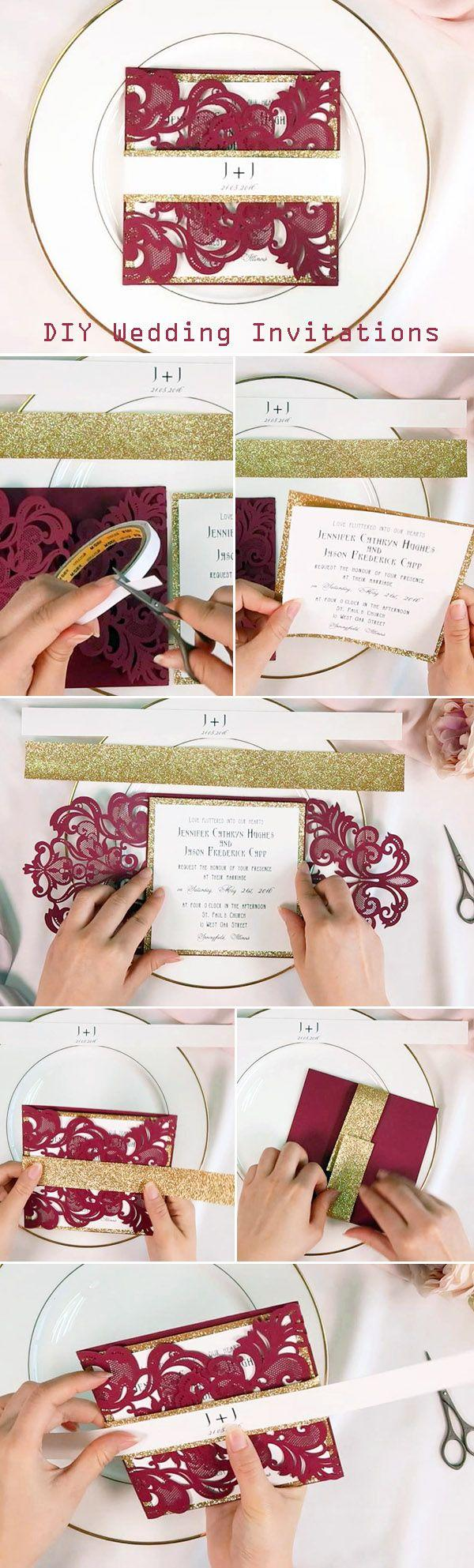 Mariage - Fall Burgundy Laser Cut Wedding Invitations With Gold Glittery Belly Band EWWS180