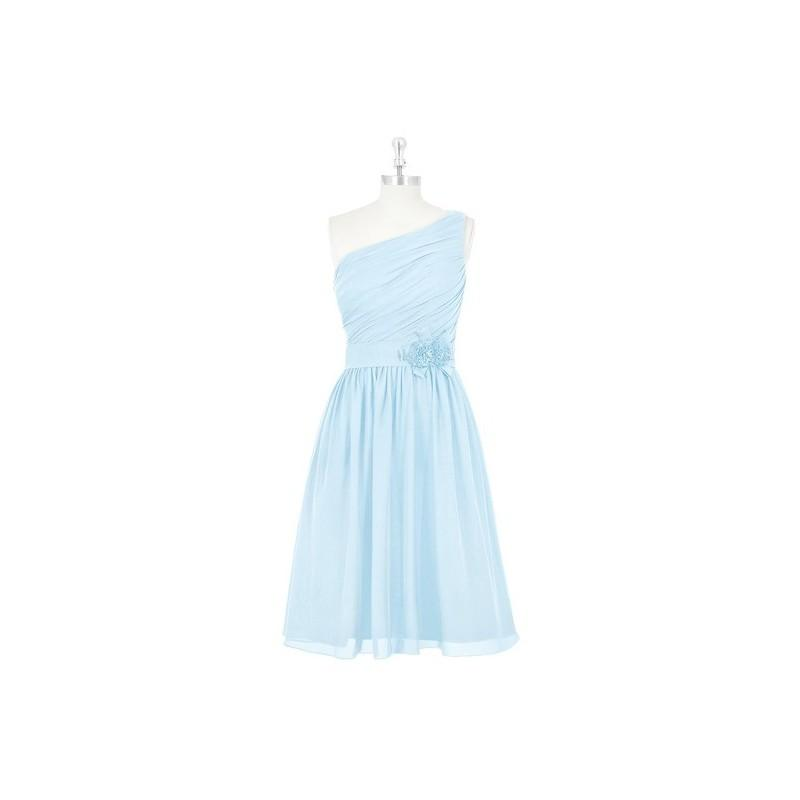 Свадьба - Sky_blue Azazie Christina - One Shoulder Chiffon Knee Length Side Zip Dress - Charming Bridesmaids Store