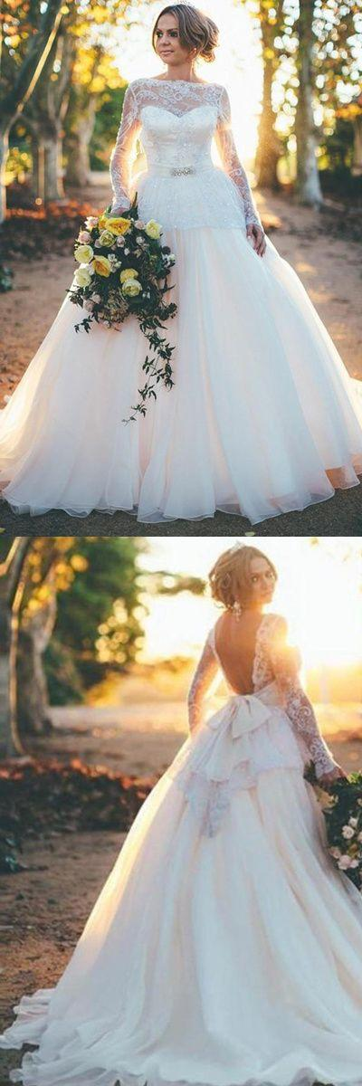 Mariage - Fashion Sleeves Ball Gown Organza Wedding Dress With Beading Lace Top TA0110