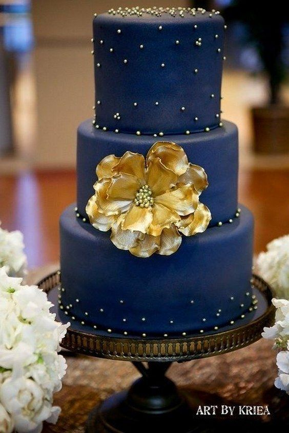 Cake 40 Navy Blue And Gold Wedding Ideas 2760267 Weddbook