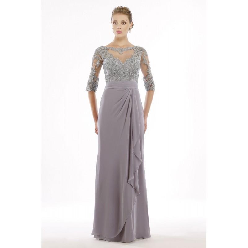 5733e0601c Sheath-Column Illusion Floor Length Chiffon Silver Cloud Half Sleeve Zipper  Mother Of The Bride Dress - Top Designer Wedding Online-Shop
