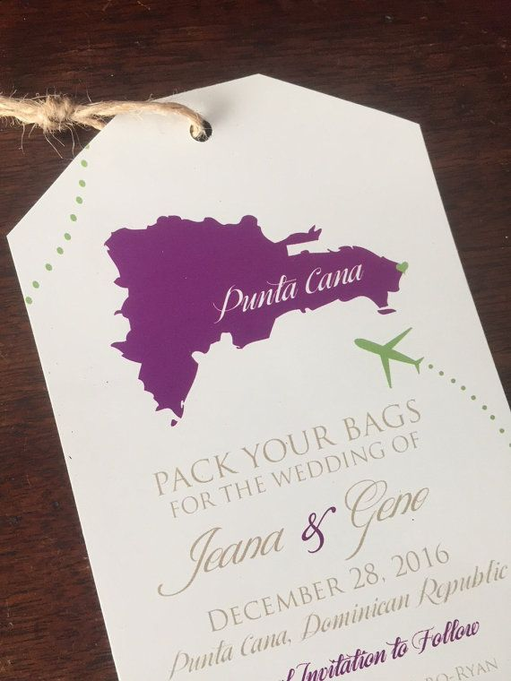 Destination Wedding Invitation Save The Date Luggage Tag Magnet Or Cardstock Dominican Republic Map
