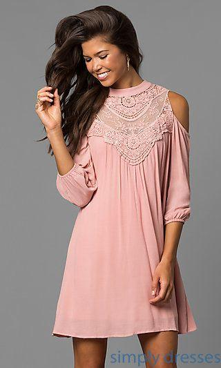 Свадьба - AS-i448265e4 - Cold-Shoulder Short Shift Dress With Long Sleeves