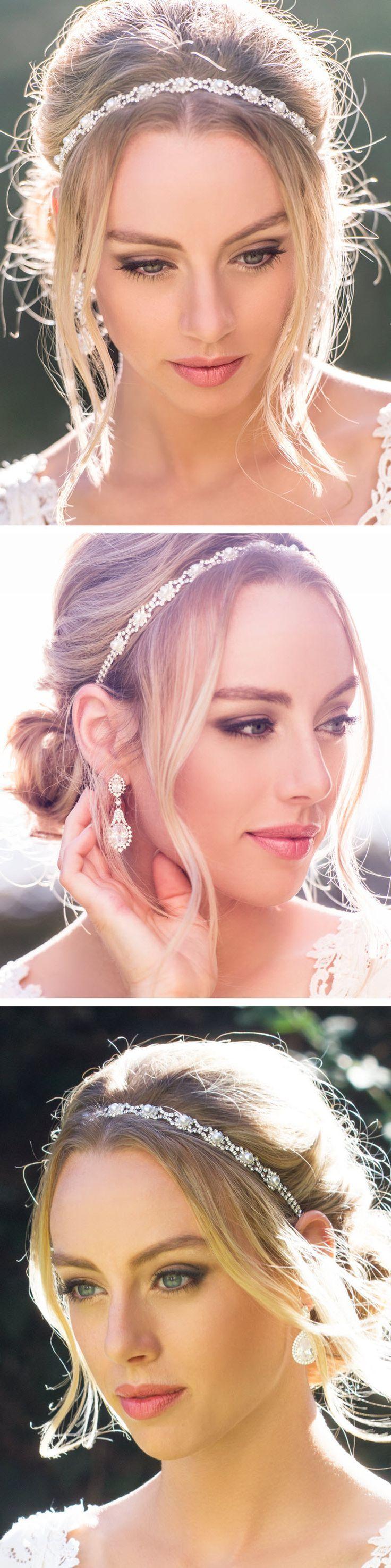 Hochzeit - Ivory Pearl Crystal Headband