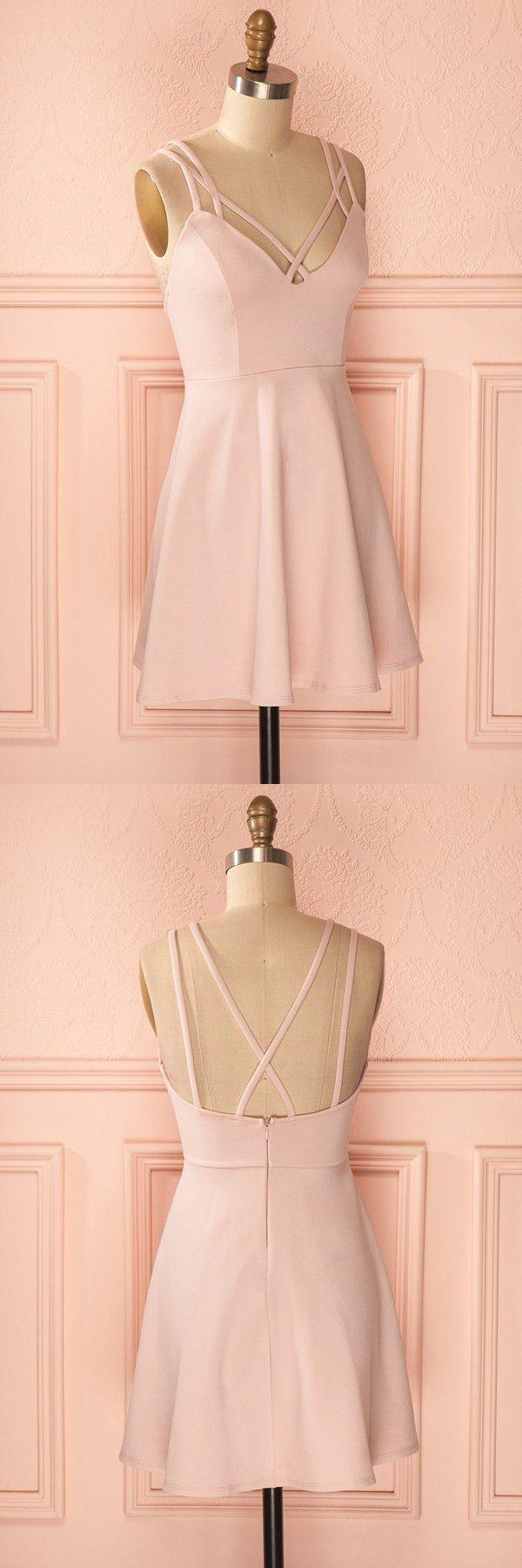 Hochzeit - A-Line Straps Criss-Cross Straps Short Pink Satin Homecoming Dress