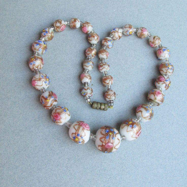 Wedding - 1950's Vintage White & Pink Venetian Glass Wedding Cake Murano Graduated Bead Necklace