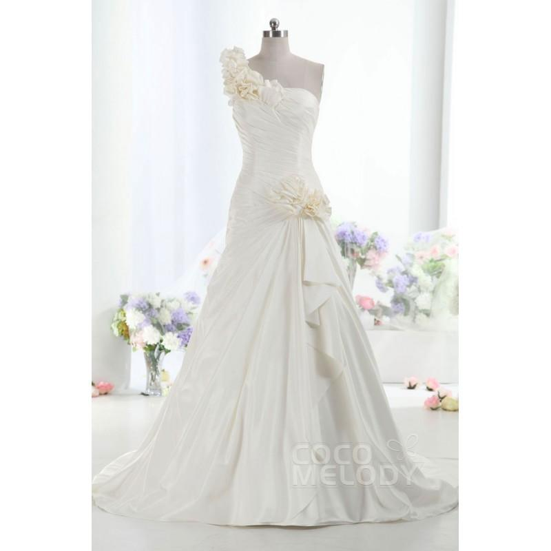 Wedding - Hot Selling One Shoulder Dropped Train Taffeta Ivory Sleeveless Lace Up-Corset Wedding Dress with Pleating h1ee0035 - Top Designer Wedding Online-Shop