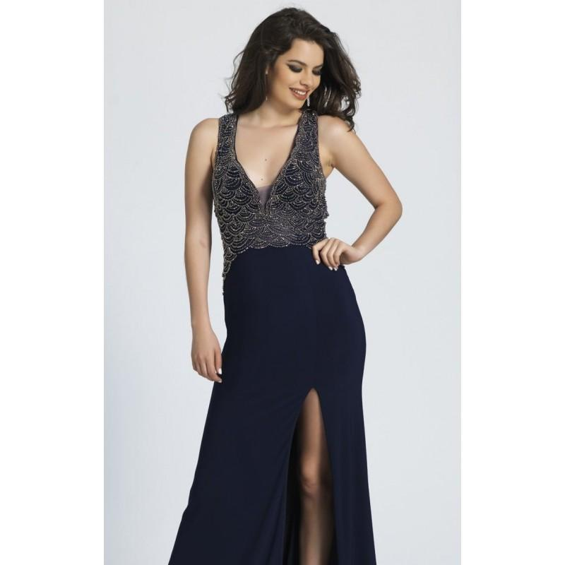 Wedding - Navy Beaded Scoop Neck Gown by Dave and Johnny - Color Your Classy Wardrobe