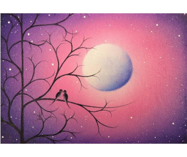 Свадьба - Love Birds Art Print, Birds on Tree Branch Wall Art, Kissing Birds at Night Under Moon, Purple and Pink Modern Art, Romantic Wedding Gift