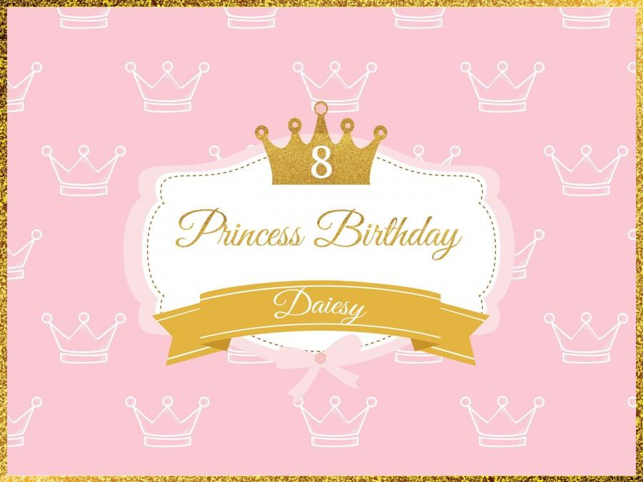 large custom princess birthday banner pink princess crown birthday