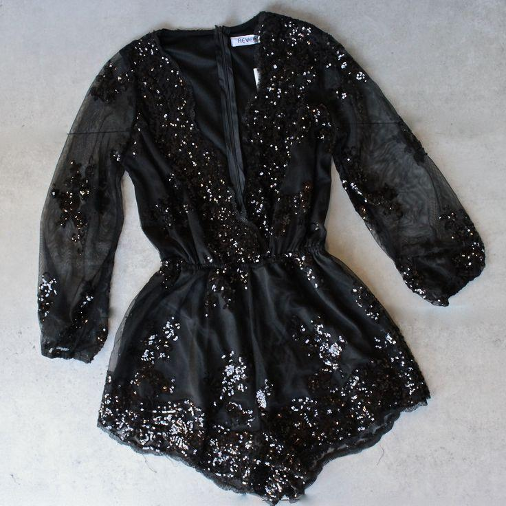 Hochzeit - Reverse - Life Of The Party Black Sequin Romper