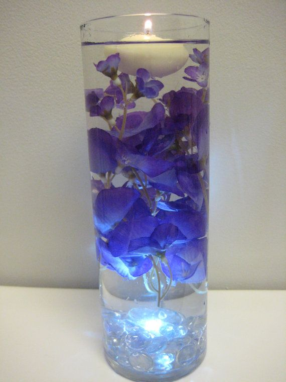 Purple And Blue Flower Floating Candle Wedding Centerpiece Kit With