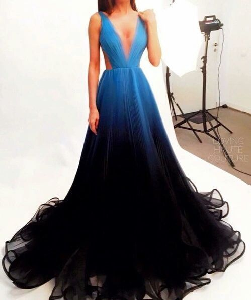 Prom Dress,Prom Dresses,Ombre Prom Dress Simple Chiffon Black Blue ...