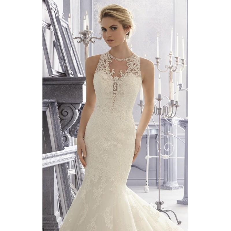 Wedding - Ivory/Silver Embroidered Sleeveless Gown by Bridal by Mori Lee - Color Your Classy Wardrobe