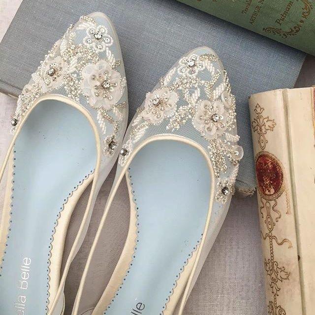Hochzeit - Adora Bridal Beaded Lace Flats