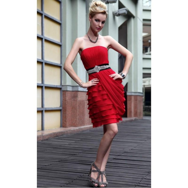 Wedding - Fascinating Flat Red Pleated Beaded Chiffon A-line Cocktail Dress In Canada Cocktail Dresses Prices - dressosity.com