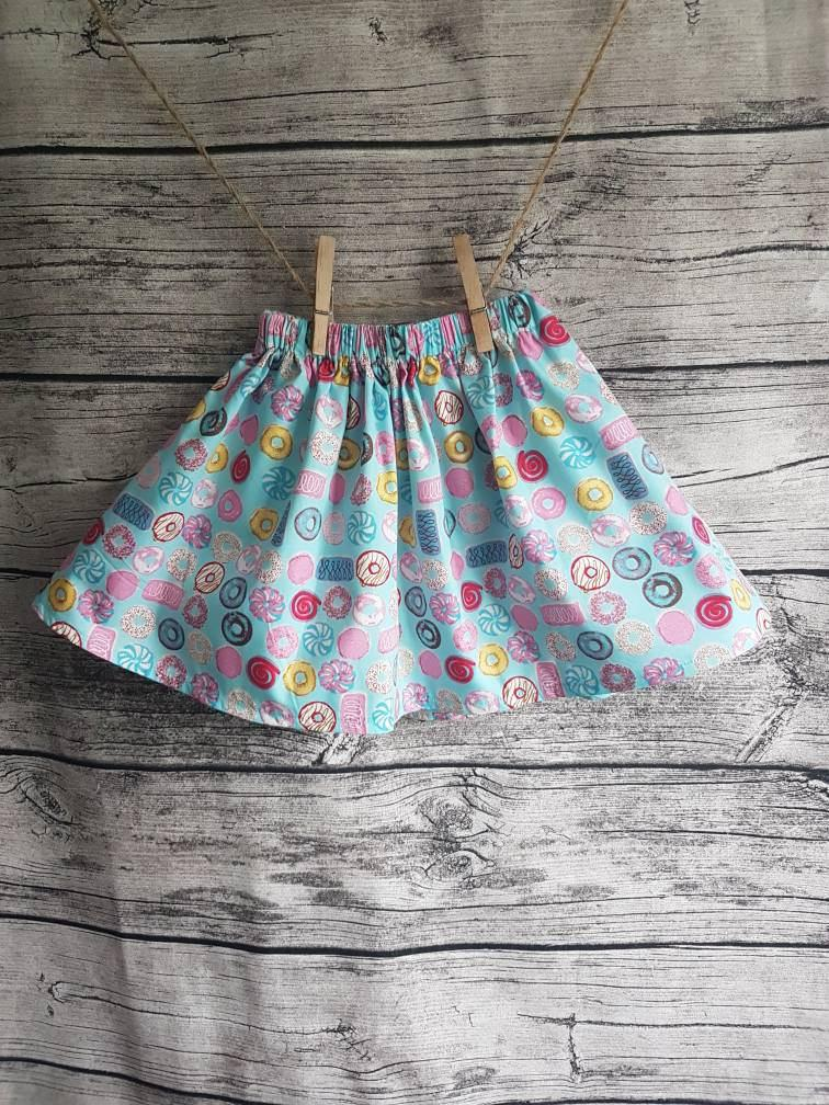 Wedding - Donut first birthday party twirl skirt, age 1 - 5 years, baby blue and pink toddlers cake smash tutu elastic skirt