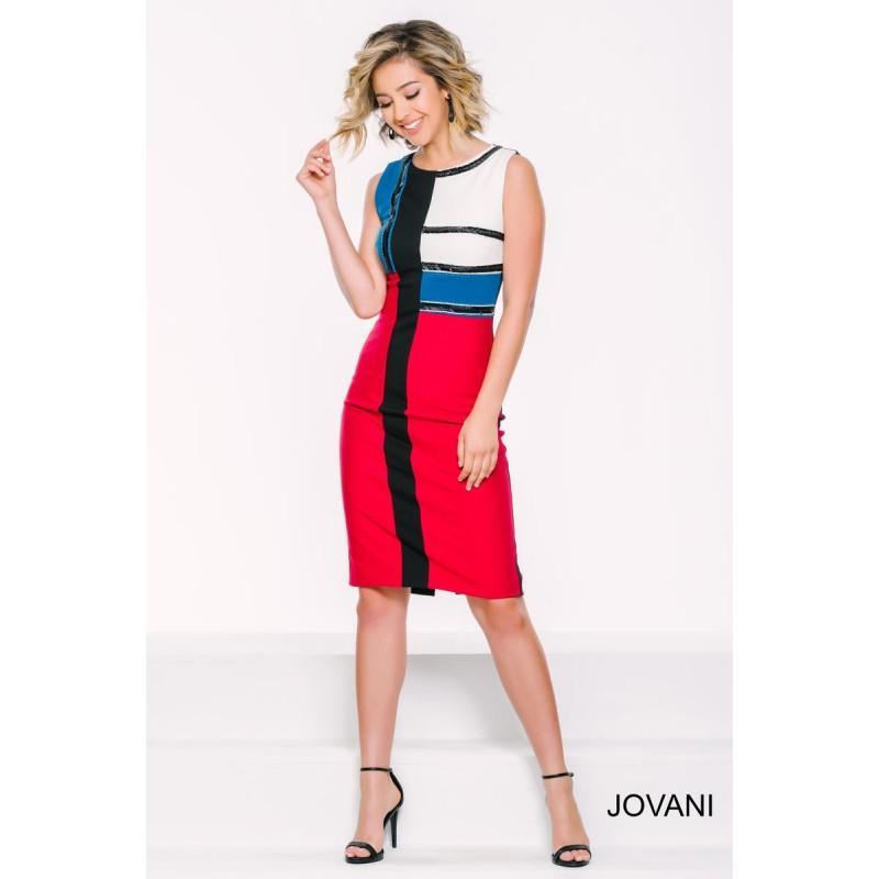 Wedding - Jovani 39491 Color Block Cocktail Dress - Brand Prom Dresses