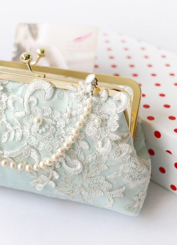 Hochzeit - Alencon Lace Bridal Bridesmaids Clutch In Mint Green