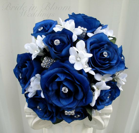 Wedding bouquet royal blue rose brides bouquet bling bouquet silk wedding bouquet royal blue rose brides bouquet bling bouquet silk bridal flowers mightylinksfo