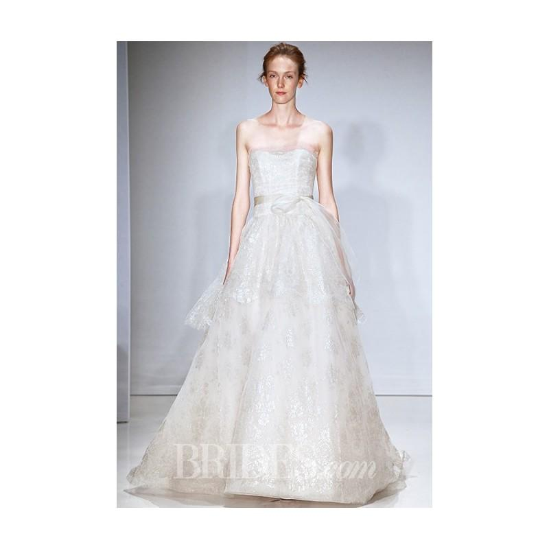 Mariage - Amsale - Fall 2015 - Strapless Metallic Chantilly Lace Ball Gown Wedding Dress Layered with Blush Tulle - Stunning Cheap Wedding Dresses