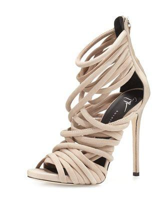 Свадьба - Strappy Suede 110mm Sandal, Blush