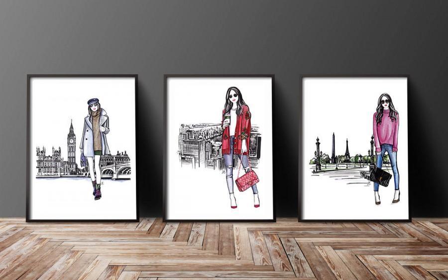 Свадьба - Set of 3, Set of 3 fashion, Set of 3 wall art, Set of 3 Fashion art, Set of 3 fashion prints, Fashion girl art, Fashion illustration