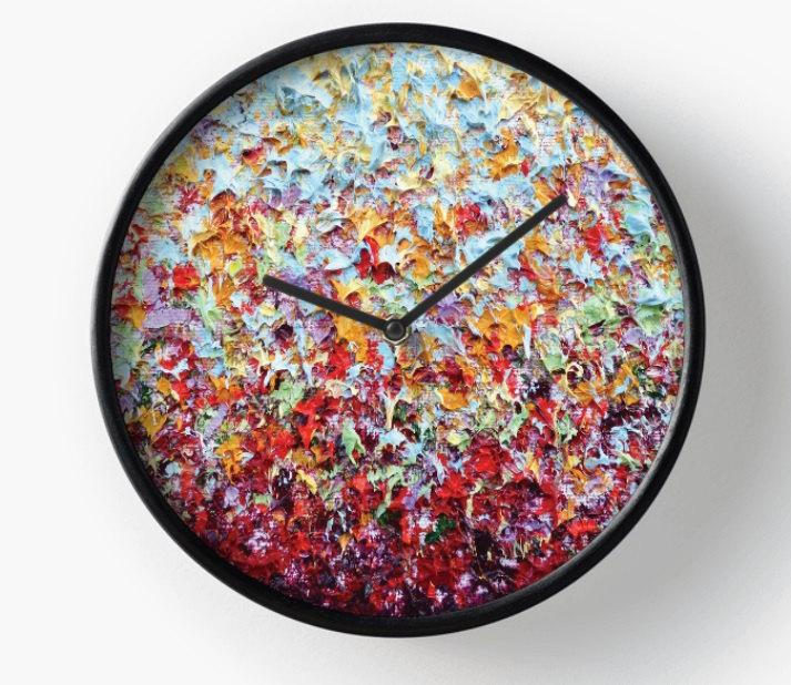 Wedding - Abstract Art Wall Clock, Wooden Wall Clock, Expressionist Clock, Colorful Home Decor, Housewares, Round Clock, Bedroom Clock, Modern Clock