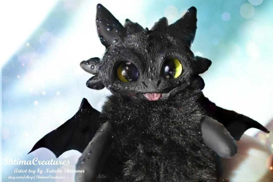 Свадьба - ooak polymer clay artist toy artdoll teddy night furry toothless monster fly kawaii  bat handmade black fur how to train your dragon