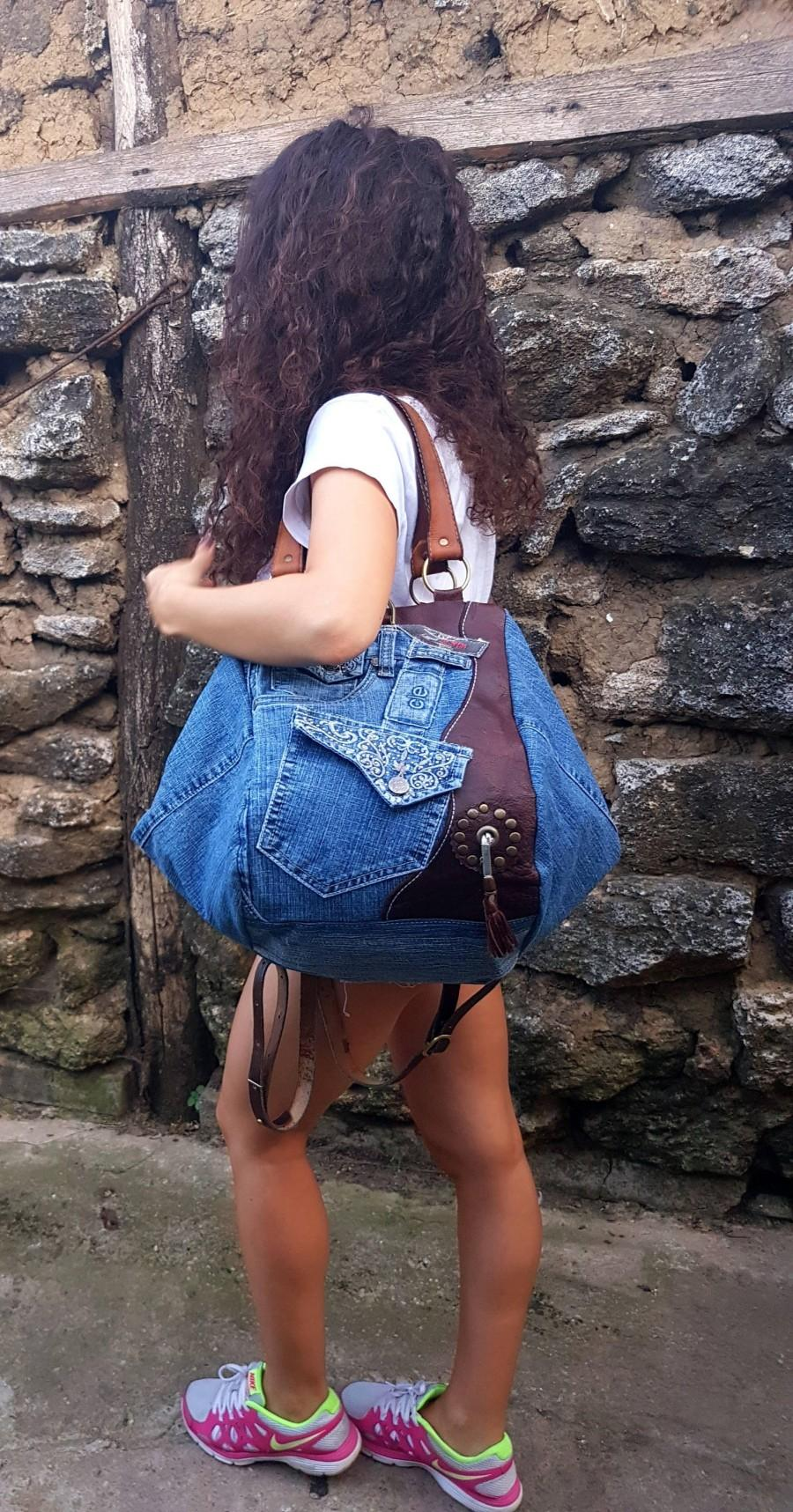 Hochzeit - Leather Carry Bag, Leather Tote Bag, Duffel Bag, Weekend Bag, Travel Bag, Denim Backpack, Leather Backpack, Holiday Bag, Leather Travel Bag