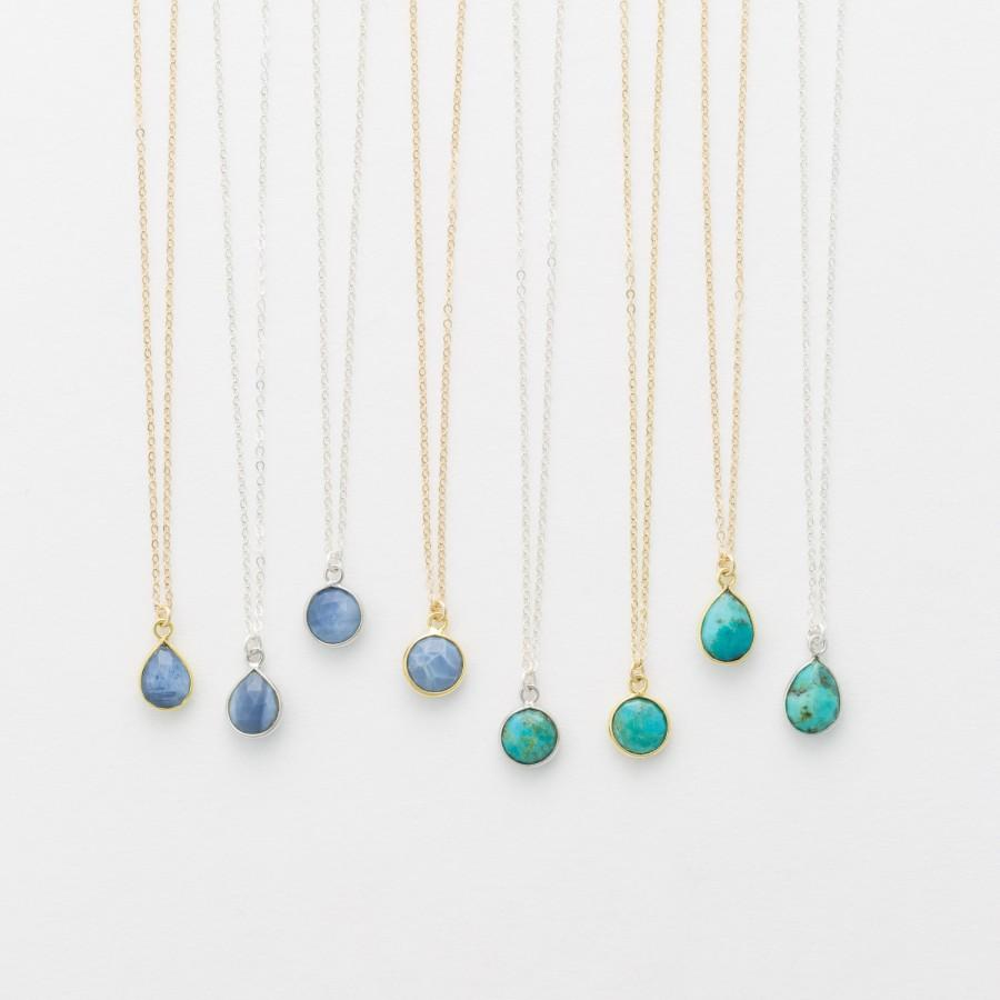 Свадьба - Tiny Stone Pendant Necklace • Circle or Teardrop Pendant • Turquoise and Blue Opal • on 14k Gold Fill, Sterling Silver LN720, LN721