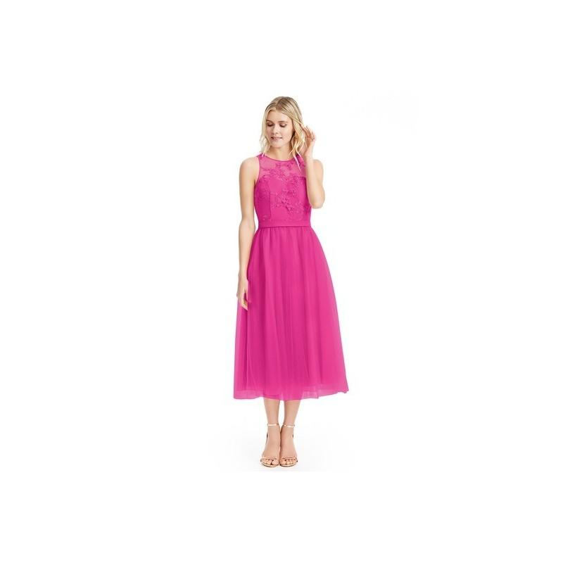 Hochzeit - Fuchsia Azazie Eva - Tea Length Back Zip Tulle And Lace Scoop Dress - Cheap Gorgeous Bridesmaids Store