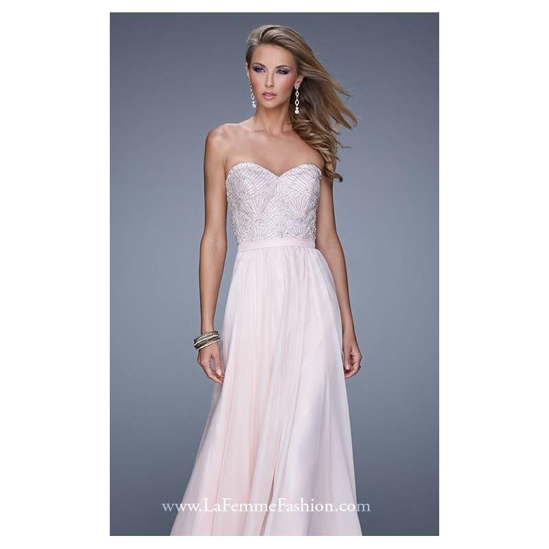 Wedding - Blush Strapless Embellished Gown by La Femme - Color Your Classy Wardrobe