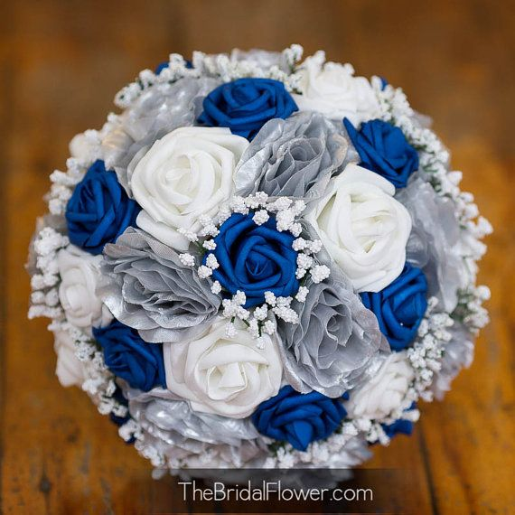Royal Blue Wedding Bouquet White Bridal Bouquet Blue And White