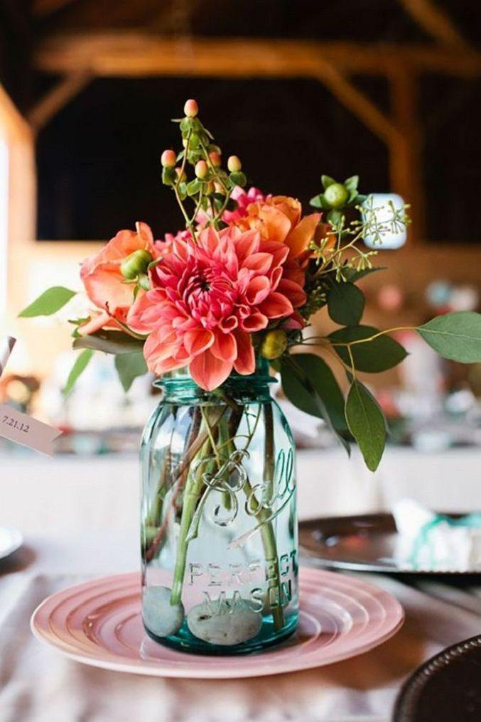 Свадьба - Mason Jars Filled In With Colourful Flowers As Wedding Centerpieces