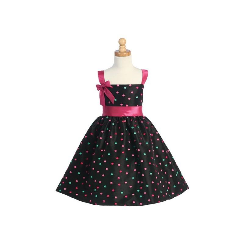 Wedding - Black/Fuchsia Embroidered Polka-Dot Dress w/ Bolero Style: LC861 - Charming Wedding Party Dresses