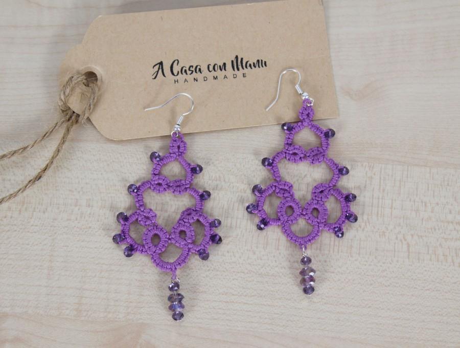 Nozze - Orecchini di pizzo, Lace earrings, orecchini pendenti, orecchini viola, regalo per lei, tatting, bijoux, gioielli Boho, damigella d'onore