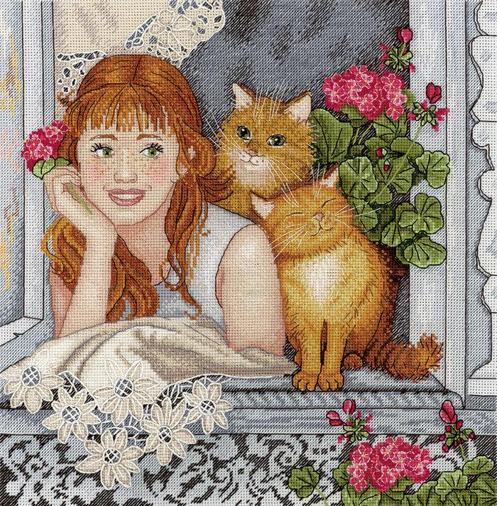 زفاف - Cross Stitch KIT (Counted cross stitching) Perfect for grandmother, mother, for her. Modern cross Stitch KIT, girl, cats, window, russian