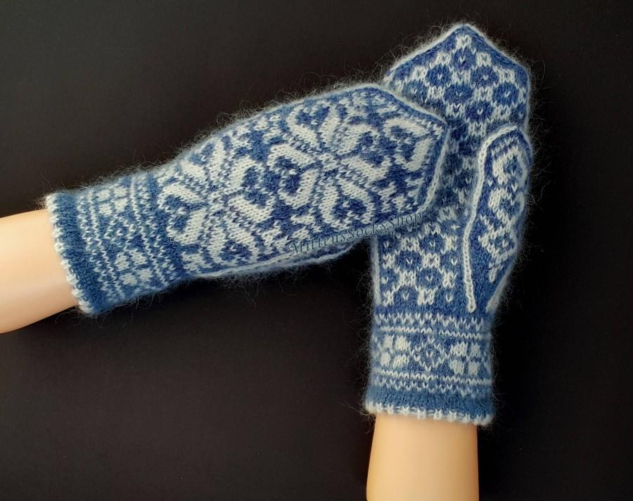 Mariage - Hand Knitted Blue White Nordic Mohair Mitts Nordic Mittens Scandinavian Mohair Mittens Patterned Mittens Very Warm Blue White Mohair Gloves