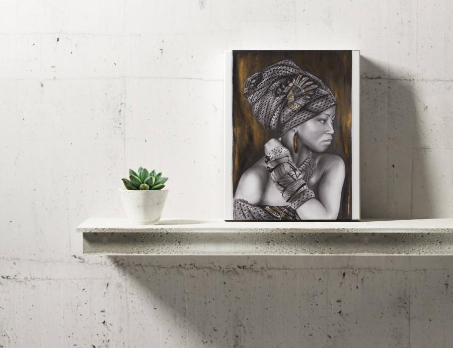 Hochzeit - Afro woman, Print of original artwork, Golden, Wrapped Head, Home Decor, Bar Art, Kitchen Art, Printed Art