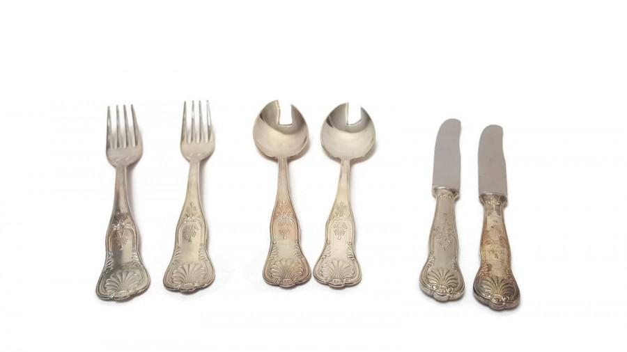 Düğün - Silver plated cutlery, Stainless steel , 2 tablespoons , 2 forks , 2 knives , vintage menagere , French table