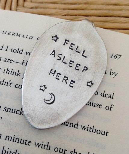 زفاف - Fell Asleep Here Vintage Spoon Bookmark Upcycled Whimsical Love Moon Stars Fairy Tale Book Bookworm Graduation