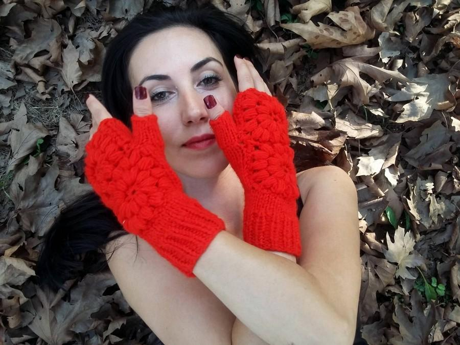 Wedding - Red Knitted Gloves, Red Women Gloves, Winter Gloves, crochet women Gloves, Fingerless Women Gloves, Knitted Women Gloves, handmade Gloves